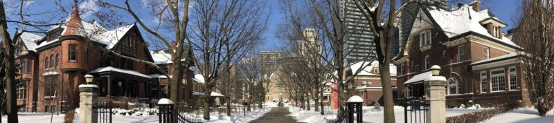 Image depicts USMC campus from St.Joseph Street up Elmsley place looking at Brennan Hall in the winter