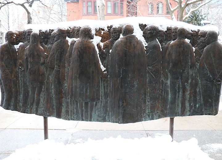 Image depicts the art piece outside Kelly Library