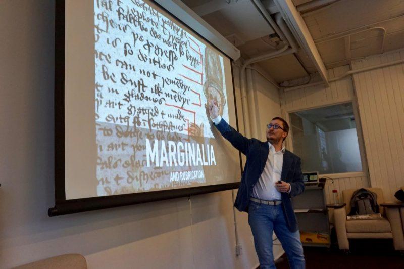 Image depicts professor Paolo Granata teaching a lecture