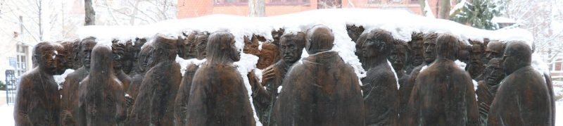 Image depicts art work outside Kelly Library