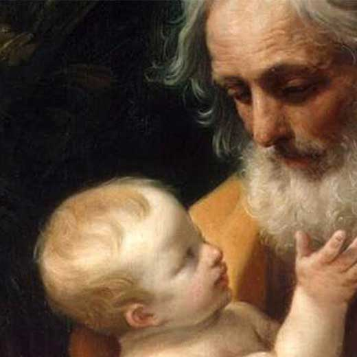 Image depicts St. joseph holding a baby