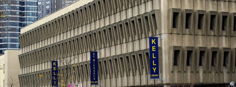 Image depicts the front of Kelly Library