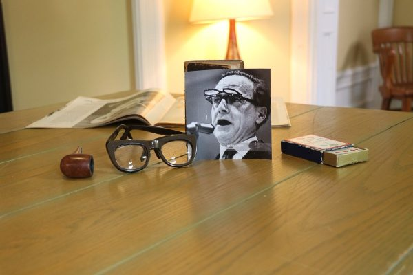 Image depicts Marshall McLuhan artifacts on display