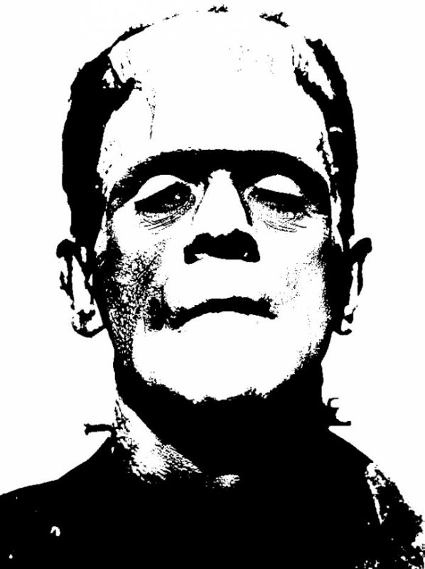 Image depicts a black and white photo of Frankenstein