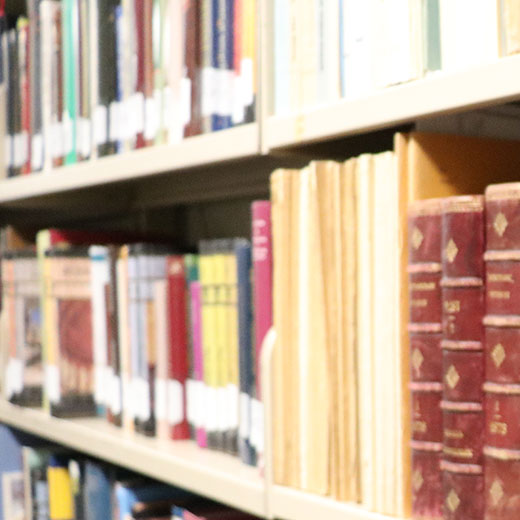 Image depicts books on a shelf