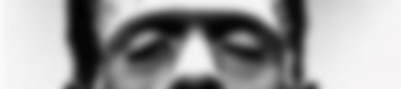 Image depicts a blurry close up photo of Frankenstein's eyes