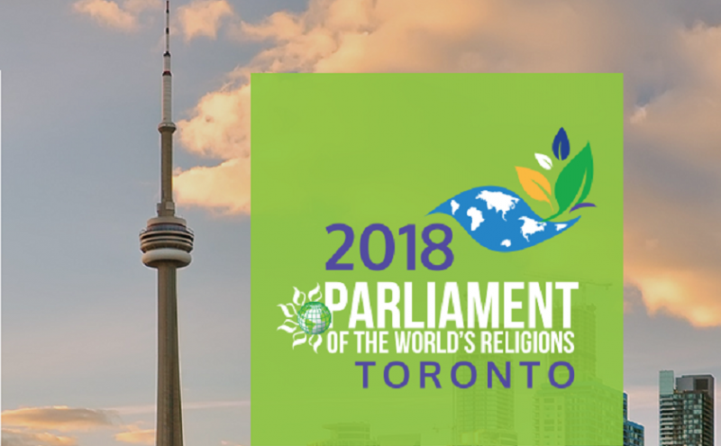 Image depicts the poster for the Parliament of the Worlds Religions Toronto