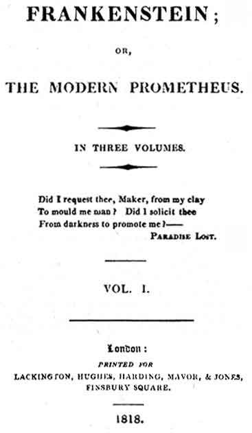 The title page for the 1818 edition of Mary Shelley's novel 'Frankenstein'.