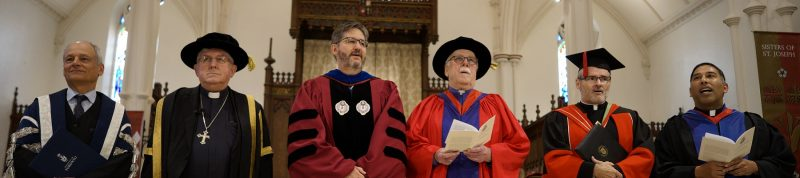 Image depicts David Sylvester being installed as President of the University of St.Michael's College