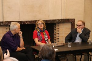 USMC visiting professor Sam Tanenhaus (right) participates in a PEN Canada panel on the killing of Saudi dissident journalist Jamal Khashoggi.
