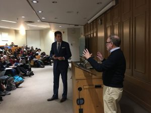 """Reporter Steve Paikin of TVO's 'The Agenda' visits the final session of Tanenhaus's """"Trump and the Media"""" course to discuss politics and journalism careers with students."""