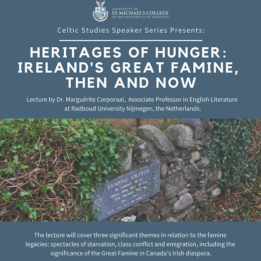 Image depicts a poster for the Celtic lecture series Heritages of Hunger