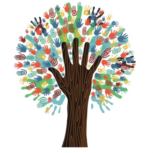 Image depicts a tree of handprints for the interfaith dialogue roundtable