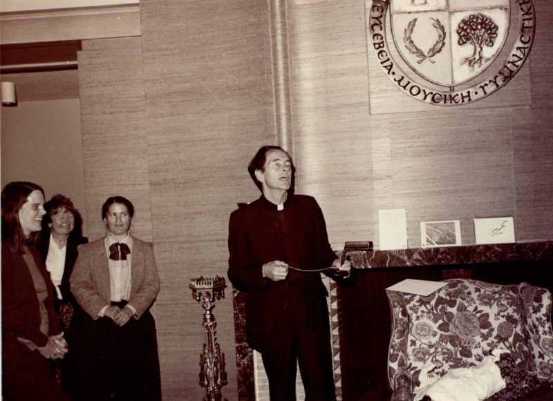 Fr. Leonard Boyle speaks in Charbonnel Lounge at St. Michael's before heading to Rome in 1984.