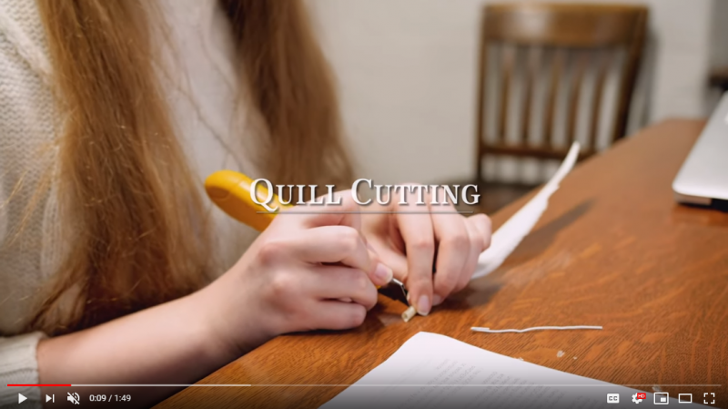 Click here to watch a video about the process of cutting quills into usable pens.