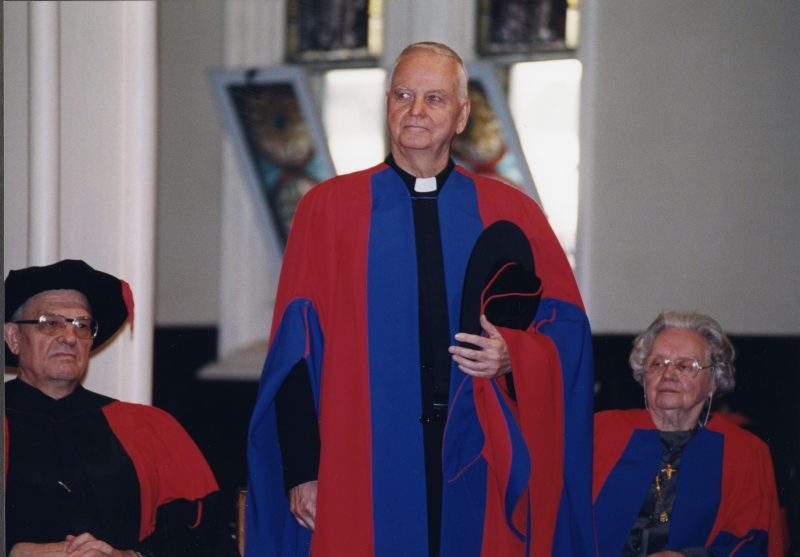 Fr. Owen Lee, CSB, received an honorary doctorate at a Faculty of Theology convocation in 1999.