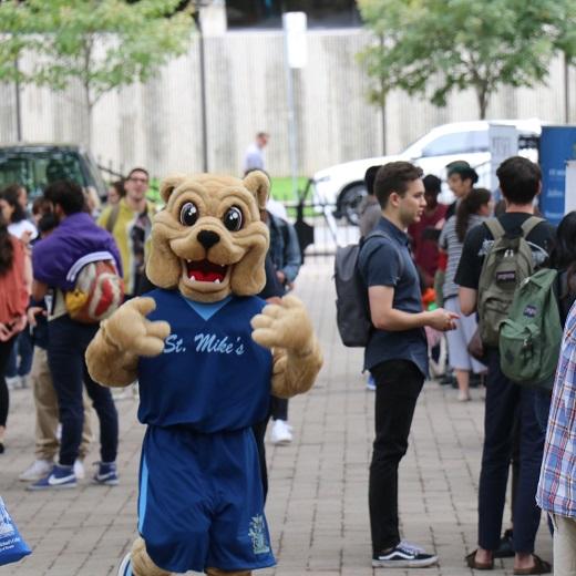 Image depicts Basil the bulldog mascot at clubs fair