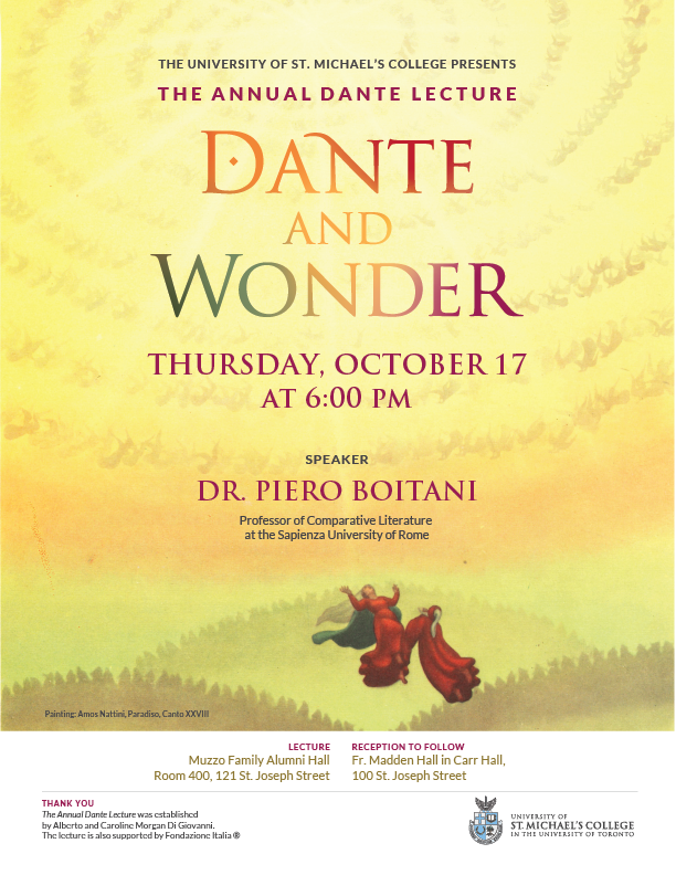 An informational poster for Dante and Wonder, the 2019 Annual Dante Lecture at the University of St. Michael's College.