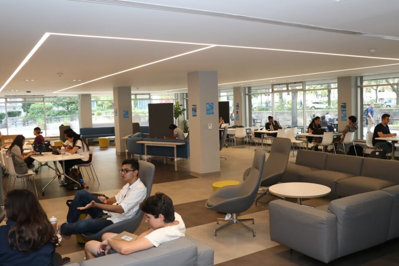 Students congregate in the COOP, one of the newly revitalized spaces in Brennan Hall.