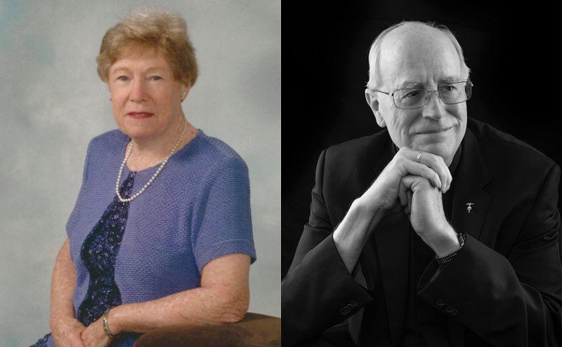 Portraits of Dr. Catherine B. Shannon and Dr. James Heft, SM (Marianist)