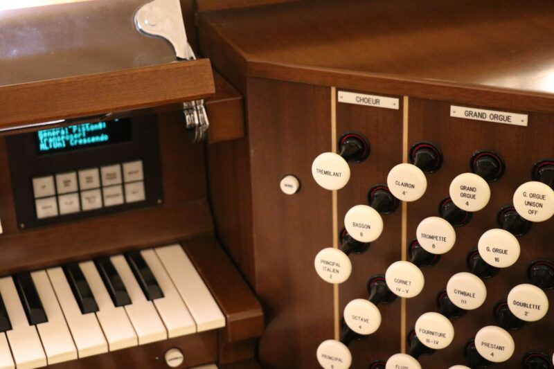 A close view of various keys and knobs on the St. Basil's organ