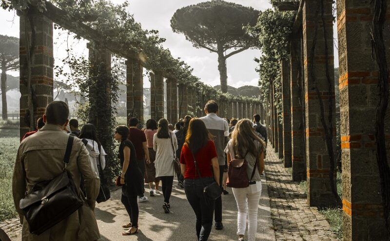 A shot from behind a group of students as they walk between columns strewn with vines in Italy.