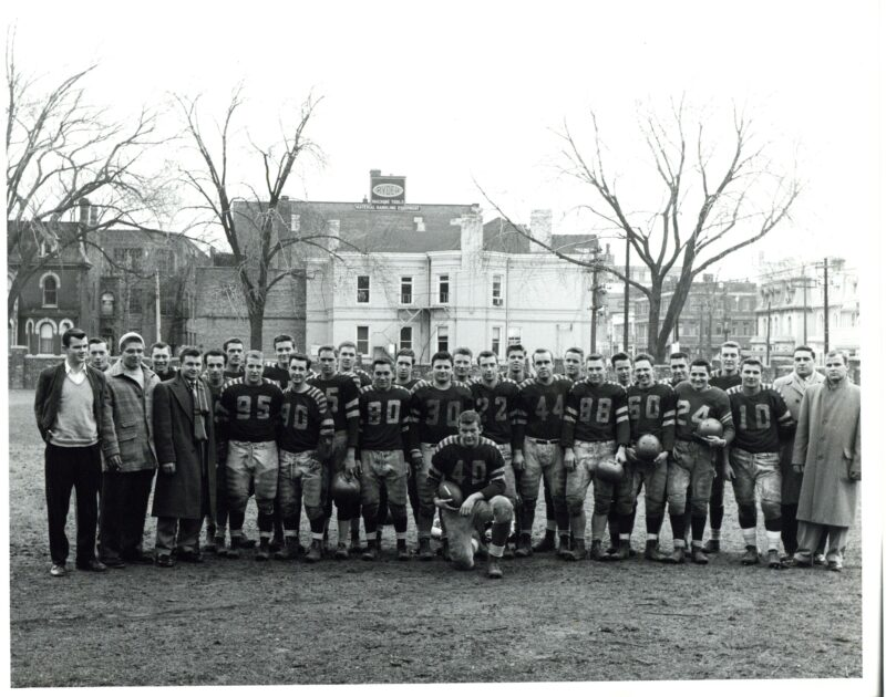 A football team poses for a photo in this image from the St. Michael's college archive.