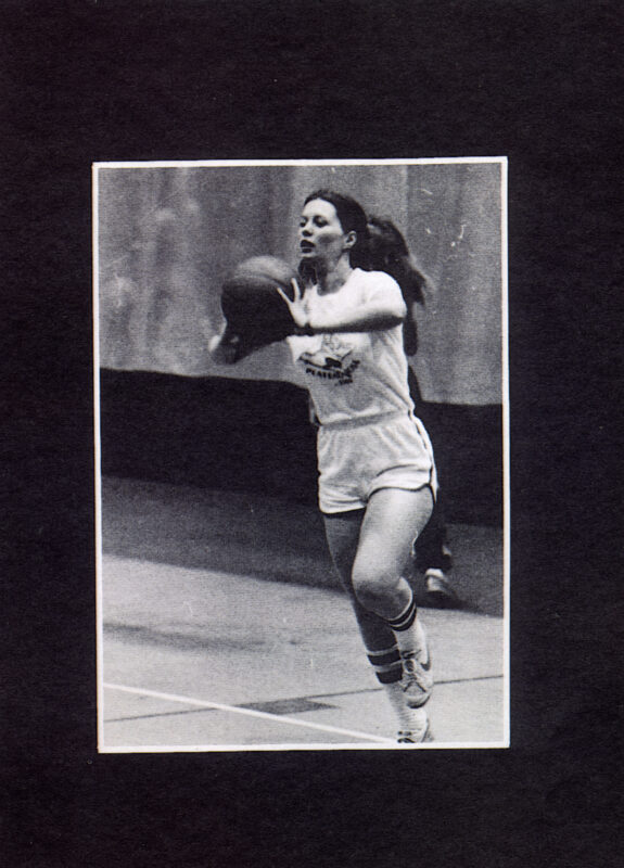 A St. Michael's women's basketball player passes the ball during a game in 1982.