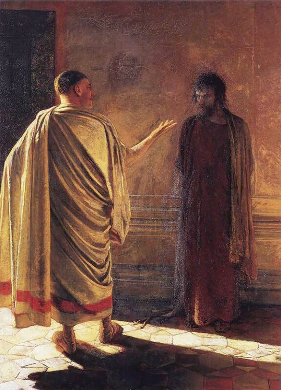 """A painting called """"What is truth?"""" Christ and Pilate by NikolayNikolayevich Ge,1890"""