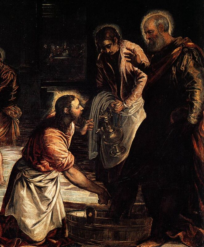 Image depicts Christ Washing the Feet of His Disciples, a painting by Jacopo Tintoretto circa 1547