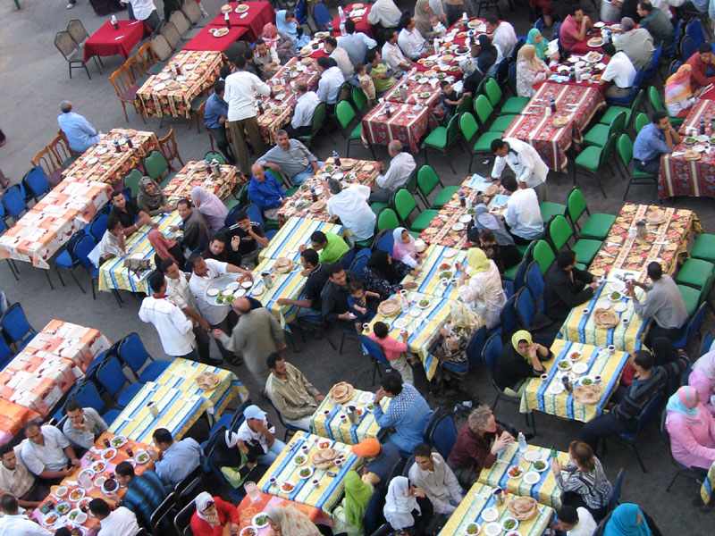 Charity tables set up in Cairo during Ramadan