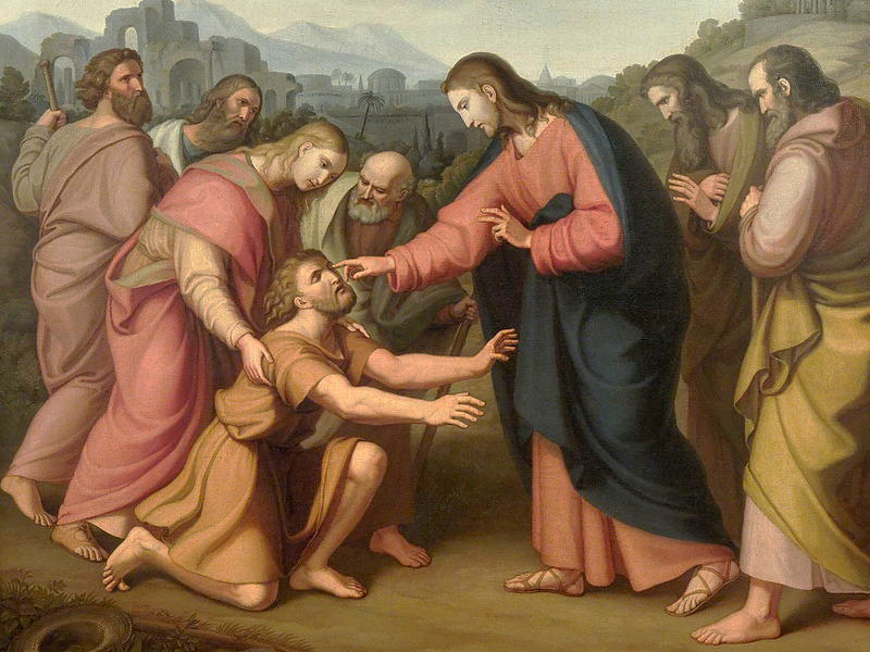 "Image depicts the painting ""Healing the Blind Man"" by Václav Mánes, 1832."