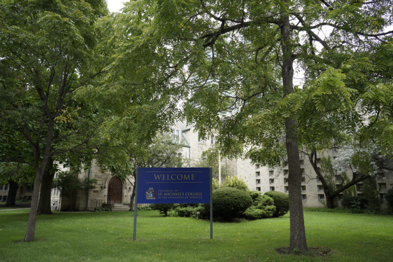 Photo of St. Mike's campus welcome sign