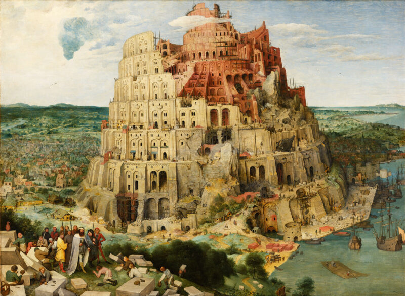 "Image depicts a painting titled ""The Tower of Babel"" by Pieter Bruegel the Elder."