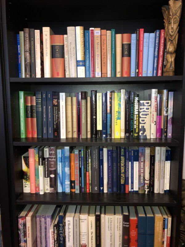 Image depicts staff member Matt Doyle's home bookshelf