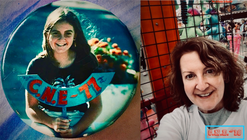 Two photographs, one of Laurie at the CNE in 1977, one from the 2018 CNE