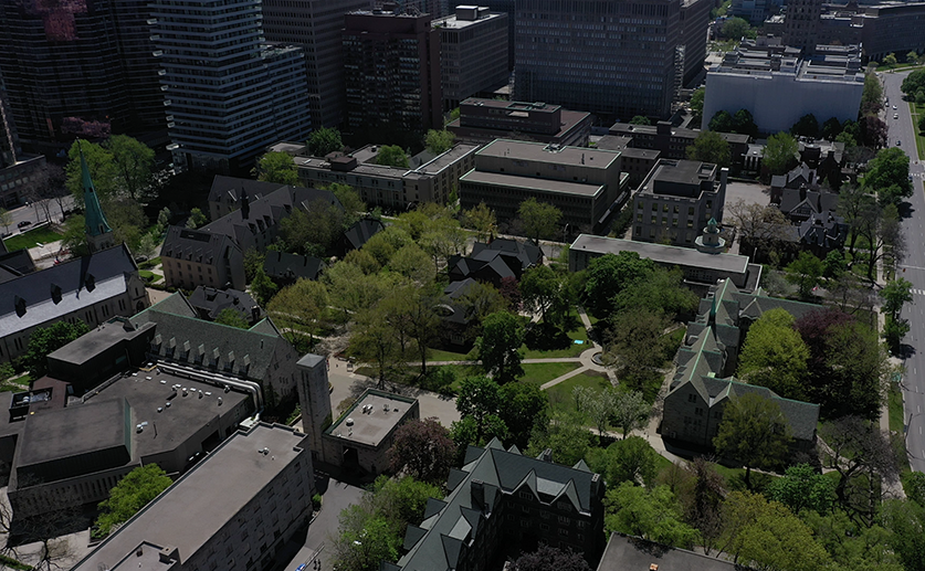 An aerial view of the St. Michael's College campus