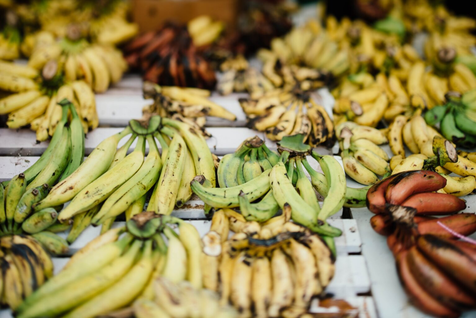 Piles of plantains for sale in an outdoor market in Cote d'Ivoir
