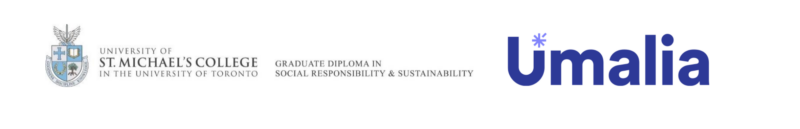 The logos for the Graduate Diploma in Social Responsibility and Sustainability program at St. Michael's and Umalia