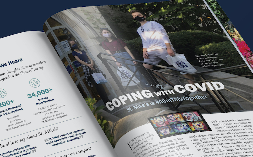The Fall 2020 edition of the St. Michael's Magazine lies open on a table, with an article about COVID visible