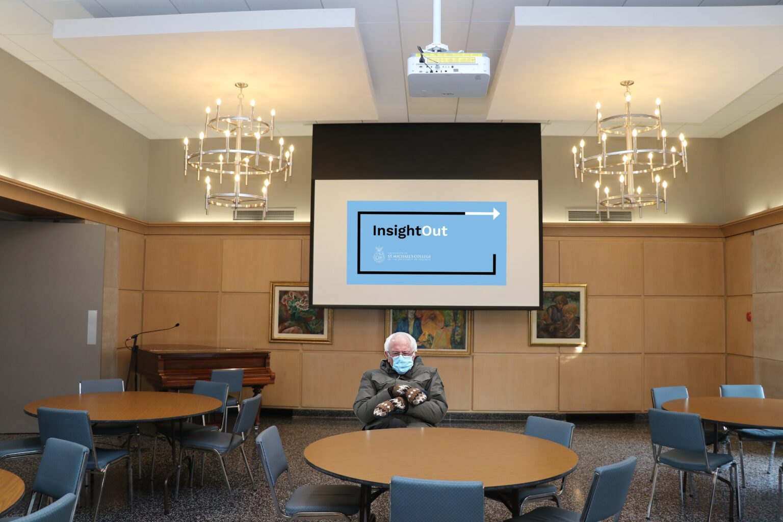 Photoshopped image of Bernie Sanders from the 2021 Presidential Inauguration sitting in Charbonnel Lounge, with the InsightOut logo appearing on a projector screen behind him