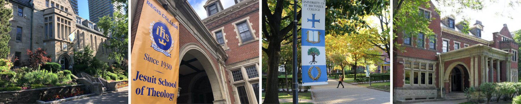 Four images show different parts of the Regis and St. Michael's campuses