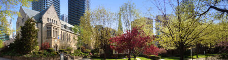St. Michael's College Campus: View of Brennan Hall and Elmsley Lane in the spring