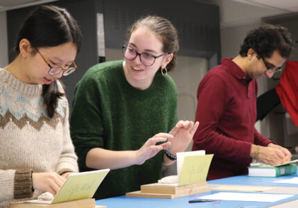 St. Mike's Students in a book-binding class for Book and Media Studies