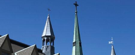 St. Michael's Campus: Odette Hall spires flank St. Basil's church spire