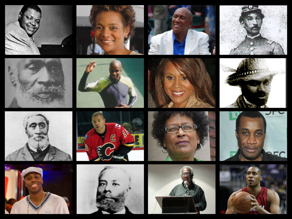 Collage of photographs of prominent Black Canadians. First row, from left: Oscar Peterson, Michaëlle Jean, Ferguson Jenkins, Anderson Ruffin Abbott. Second row, from left: Josiah Henson, Donovan Bailey, Deborah Cox, Mathieu de Costa. Third row, from left: William Hall,  Jarome Iginla, Marlene Jennings, Clement Virgo. Fourth row, from left: Kardinal Offishall, Elijah McCoy, Austin Clarke, Jamaal Magloire.
