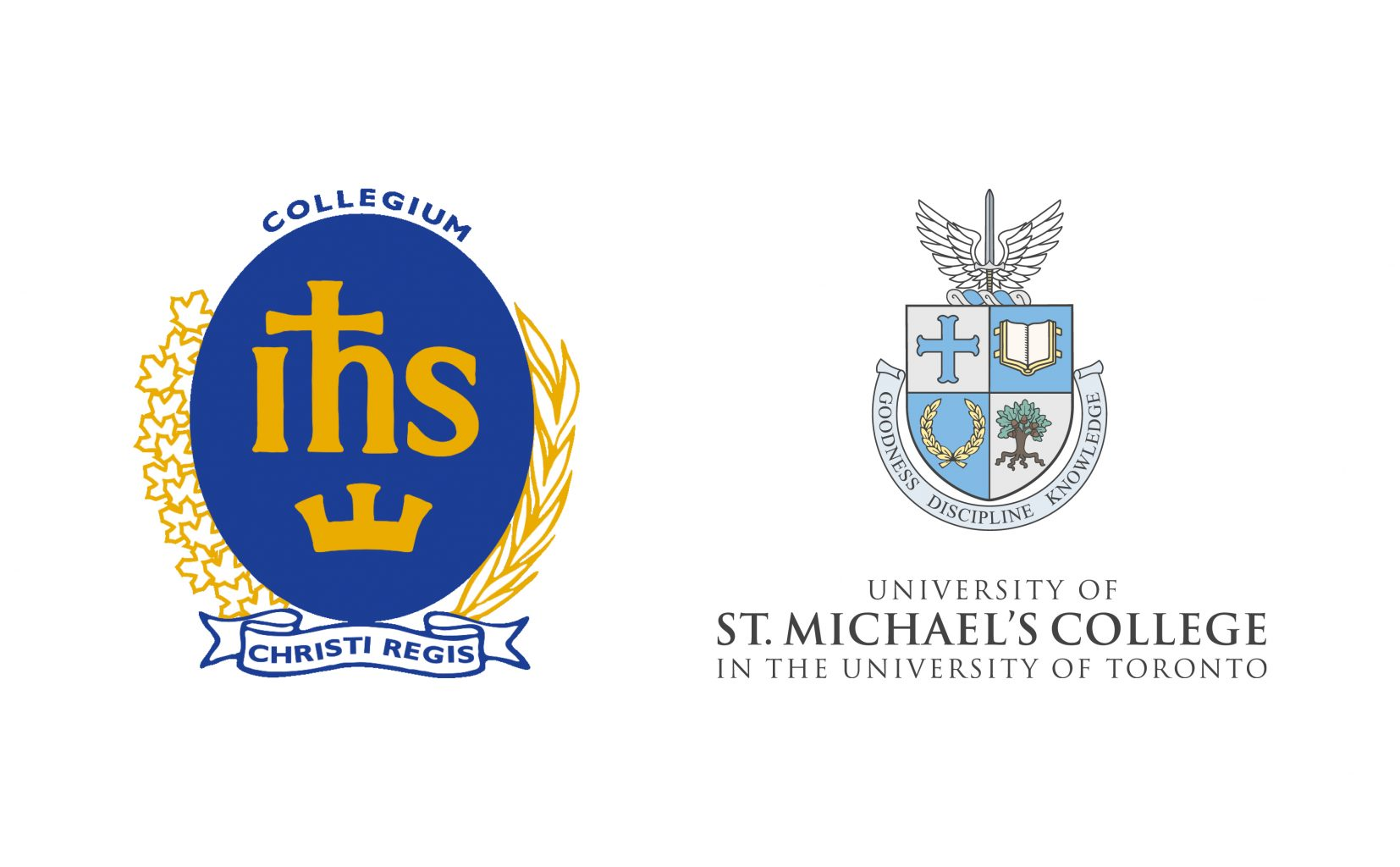 The logos of Regis College and the University of St. Michael's College