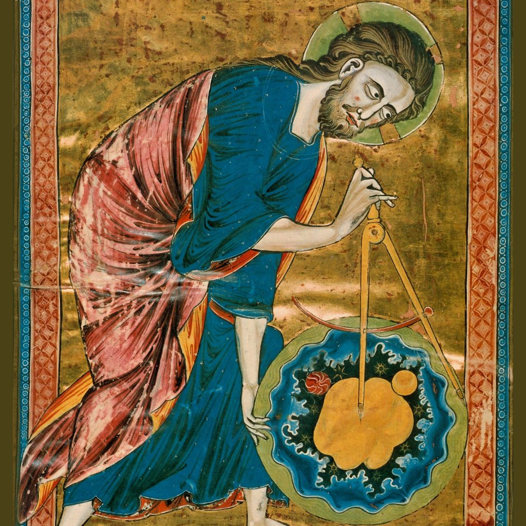 God the Geometer: Gothic frontispiece of the Bible moralisée, representing God's act of Creation. France, mid-13th century Credit: Anonymous, archiv.onb.ac., Wikimedia