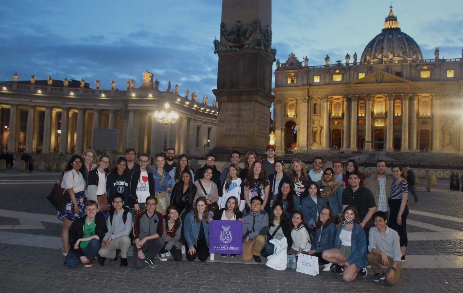 A large group of students in St. Peter's Square in Vatican City