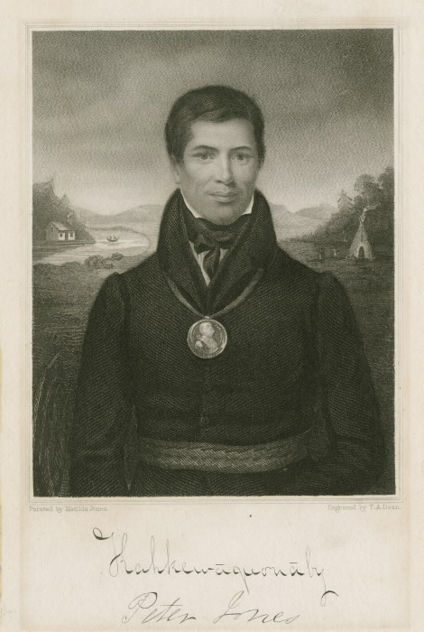 A portrait of historical leader of the Mississaugas Sacred Feathers